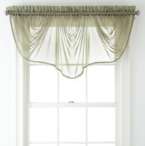 """Home Expressions Lisette Sheer Imperial Beaded Valance 90"""" W X 33 1/2"""" L Sage - $21.99"""