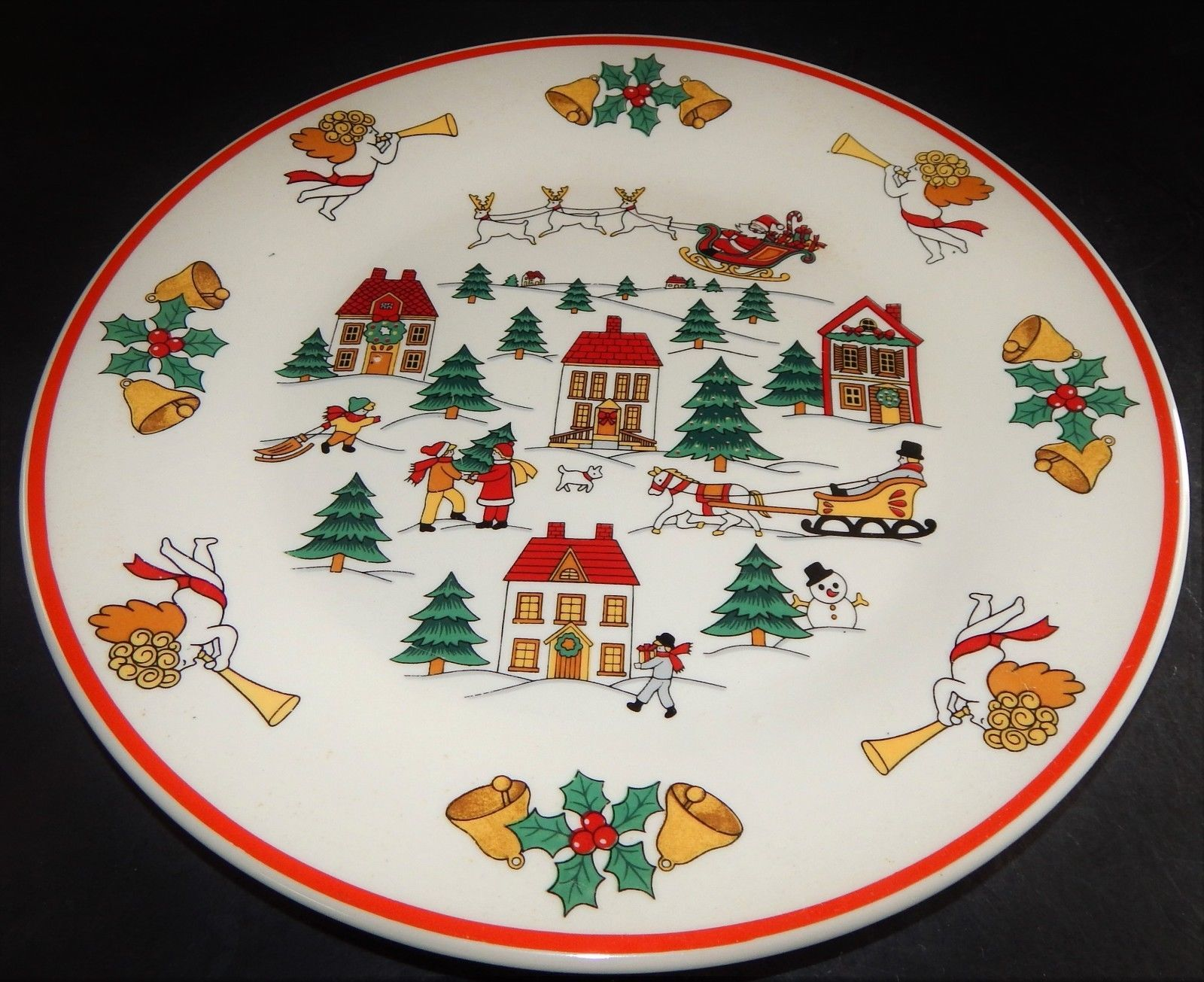 2 Jamestown Joy of Christmas Dinner Plates 1987 Action Ind Old Winter Village