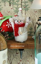 POTTERY BARN FELT SNOWMAN BOTTLE STOPPER -NWT- YIPPEE! IT'S THE HOLIDAY ... - $19.95