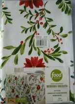 NWT Food Network Holiday Holly Poinsettia Stain Resistant Round Tableclo... - $29.68