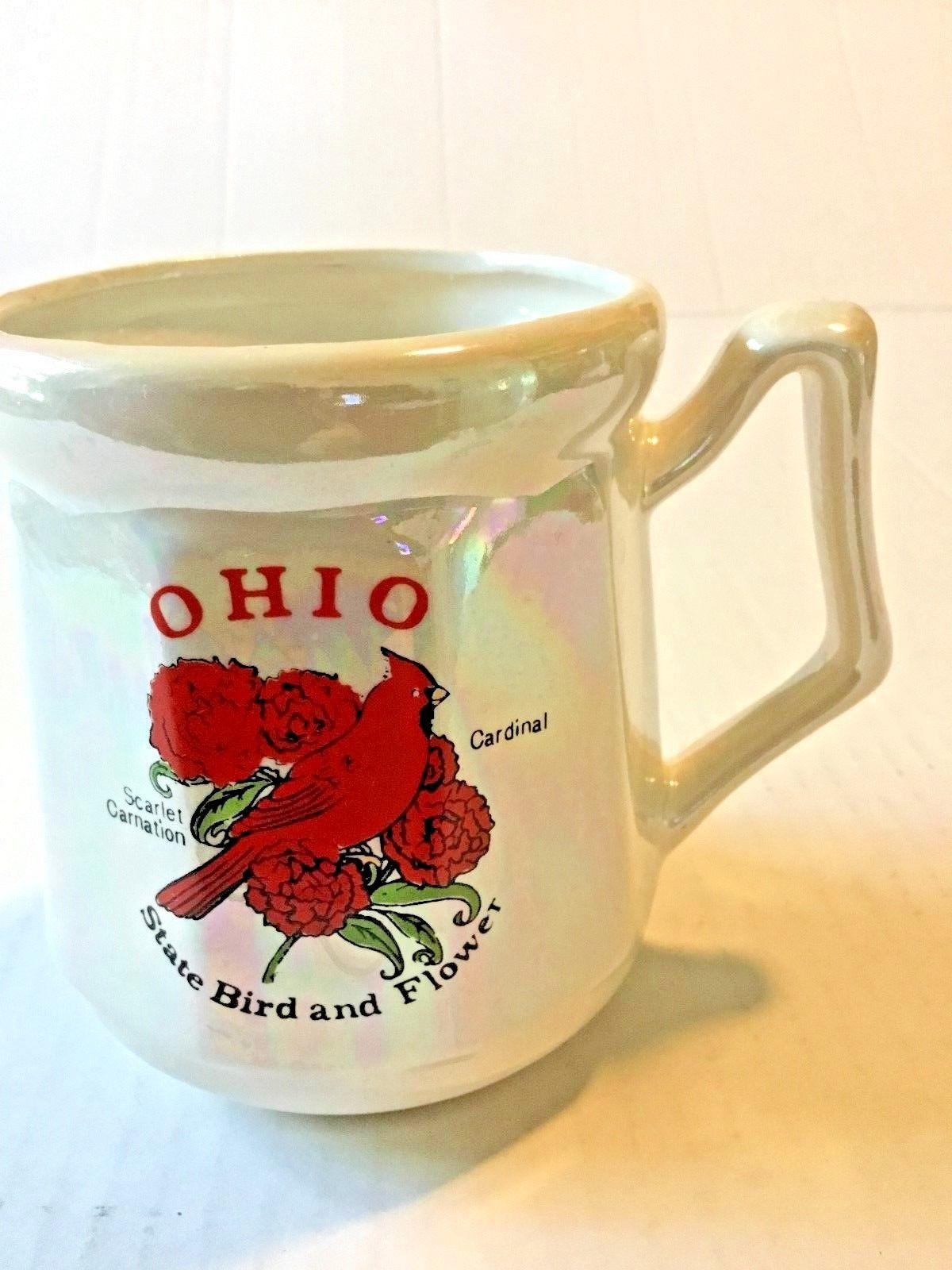 "Mother Of Pearl State Bird Cardinal Flower Scarlet Cardinal 3"" W 4"" H Coffee Mug - $19.95"