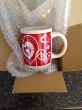 Valentines Day Ceramic Mug With Red And White Hearts And Flowers Brand N... - $9.74