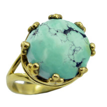 fascinating Turquoise Gold Plated Multi Ring Natural generally US gift - $20.99