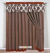 4P Felt Damask Floral Curtain Set Orange Rust Coffee Beige Vampire Valance Liner - $40.89