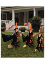 Group of Spooky Witch Halloween Lawn Props Outdoor Yard Decoration Scary... - $89.23