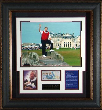 Primary image for Jack Nicklaus unsigned 16x20 Photo Leather Framed w/ British Pound Note
