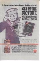 Vintage 1990 Borden Cracker Jack Print Ad Sailor advertisement Baseball ... - $4.99