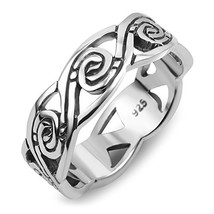 925 Sterling Silver Tribal Swirl Surf Wave Design Band Ring Size 6, 7, 8... - $30.68
