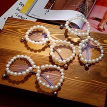Vintage Women Pearl Glasses Frame  Luxury Wave legs Cateye Sunglasses Fashion Ra image 5