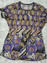 KOI Kathy Peterson Layla Purple Print Scrub Top  #146PR Floral Size Smal... - $15.83