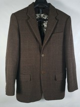 DKNY Mens Wool Cashmere Brown Houndstooth Plaid 2 Button Blazer Jacket M - $74.25