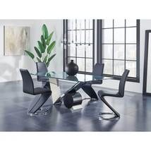 Global Furniture D987DT W/D9902DC-BL Glass Top Table & Black PU Chair Set 5Pcs