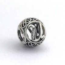 Authentic Pandora Vintage U Sterling Silver Letter Charm, 791865CZ New - $30.39