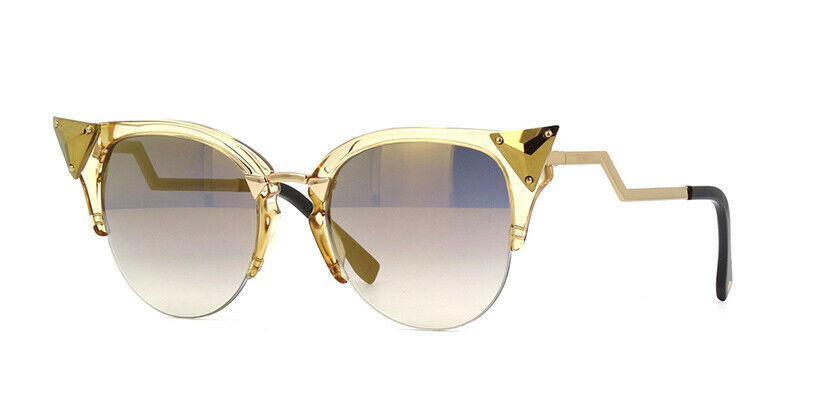 Primary image for NEW FENDI IRIDIA FF 0041/S Gold/Grey-Brown Mirrored 27L/FQ Cat Eye Sunglasses