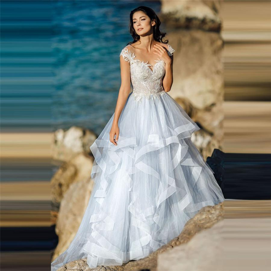 P short sleeves lace appliques wedding dresses with buttons back tulle beach bridal gowns custom