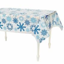 "Snowflake Plastic Tablecloth (1 Piece) 56"" x 72"" - $7.59"