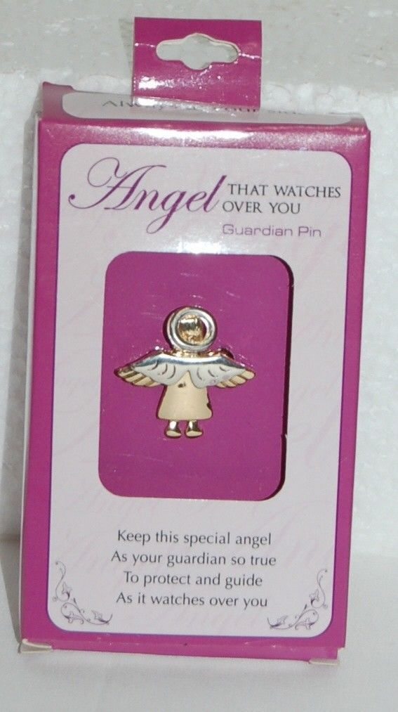 DM Merchandising Guardian Pin Angel Watching Over You Silver Gold Colored