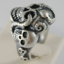 Silver Ring 925 Burnished Shaped Skull with Snake Size Adjustable image 2