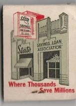 Vtg Strike on Matchbook  ~ State Savings & Loan Association ~ Stockton, Ca - $7.91