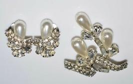 VTG Silver Tone Clear Rhinestone Faux Pearl Floral Flower Pin Brooch - $39.60