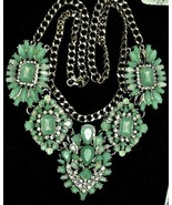 Runway Ice Green Glass Choker Necklace Bridal Rhinestones Wedding Oscar? - $259.00
