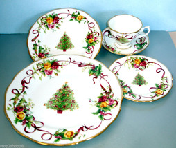 Royal Albert Old Country Roses Christmas Tree 5 Piece Place Setting New ... - $68.90