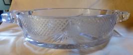Vintage 1930s Round 3 part Divided Relish Clear Glass Etched Lattice & Florette - $35.00