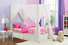 Twin Bed Frame Canopy White Metal Canapy Bedroo... - $140.24