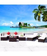 10 PC Patio PE Rattan Wicker Furniture Sofa Sectional Set w/ Lounge Chai... - $919.98
