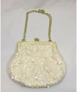 Vintage Beaded Party Clutch Ivory Evening Handbag Fine Arts Bag Co Inc - $25.15