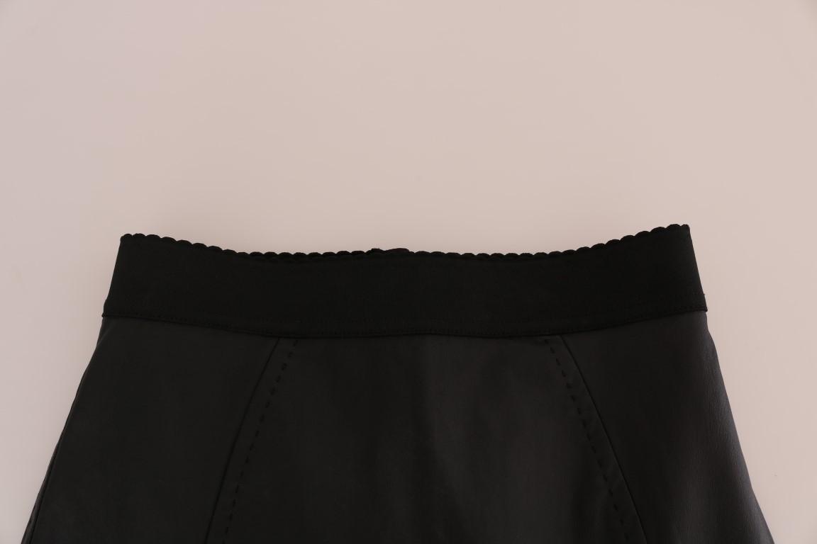 Dolce & Gabbana Black Leather Pencil Skirt