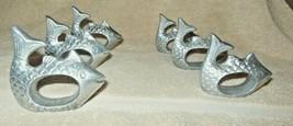 SET OF 6 SILVER METAL FISH NAPKIN RINGS NAUTICAL DECOR NICE! - $18.99