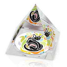 "Shape Cat Colorful Illustrated Animal Art 3.25"" Crystal Pyramid Paperweight - $29.95"