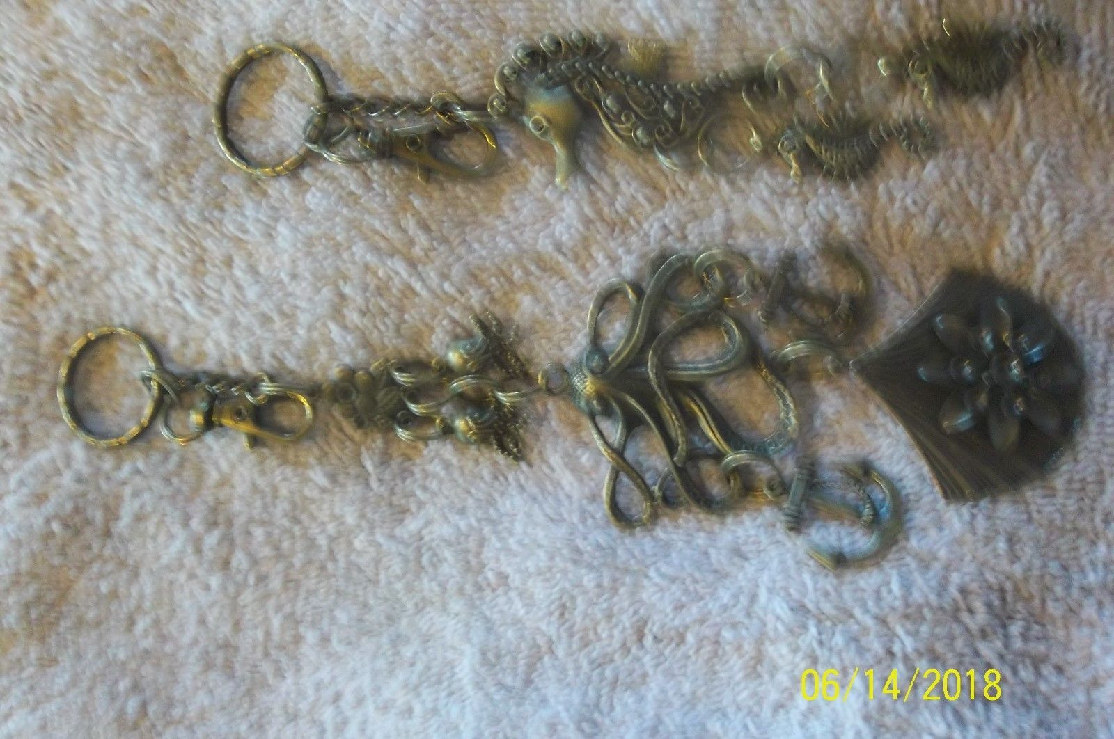 #purse jewelry bronze color keychain backpack filigree charms lot of 3 floral 21 image 7