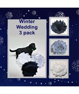 Winter Wedding Flowers for dog collars, Navy fabric pup charm, Silver Pet  - $11.00