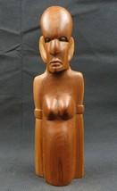 Vintage African Kenya Totem wood carved statue primitive deco - $29.00