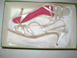 New Womens 11 Italy Kate Spade Heels Shoes White NIB Tan Sandal Open toe Satin  - $380.00