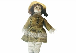 "Porcelain Doll vtg Music box Musical Victorian 16"" green dress Happy lan... - $38.65"