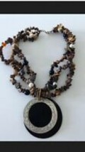autumn beaded necklace with medallion  - $24.99
