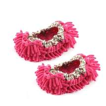 Dust Floor Cleaning Purple Microfiber Stretchy Cuff Foot Mop Slippers Shoes 2pcs image 3