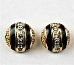 Vintage Signed CHR DIOR Goldtone Black Enamel Rhinestones Clip-On Earrings  - $37.71