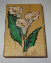 Calla Lilies Rubber Stamp Comotion Retired Rare Wood Mounted Lily Flowers  - $7.91