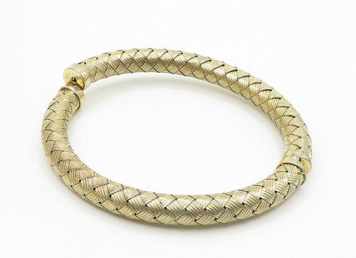925 Sterling Silver - Vintage Hollow Weaved Gold Plated Bangle Bracelet - B6230 image 3