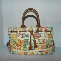 Dooney and Burke signature DB White Tan Handbag Purse Pink Metal Hang Ta... - $34.64