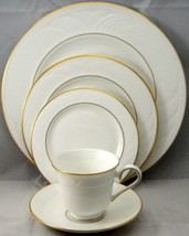 "LENOX ""SNOWDRIFT"" GOLD 65 PIECE DINNER SET BONE CHINA MADE IN USA WHITE NEW W T - $3,244.50"