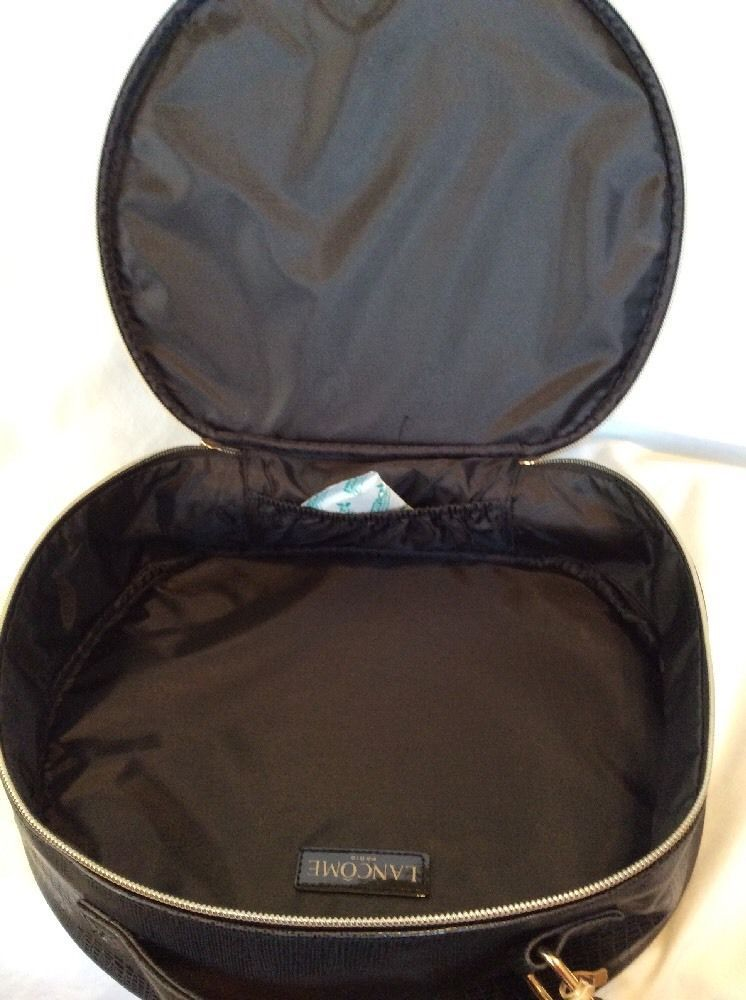 Primary image for Lancome Big Black Round Makeup Bag Travel Case With Rose Zippered Round, New