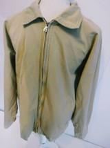 IZOD Men's Fall Coat Jacket Tan Blue Size Large Zipper Down - $13.99