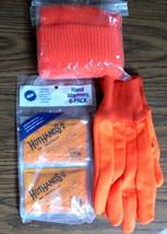Hunter's Blaze Orange Hat, Blaze Orange Gloves and Hand Warmers - $8.86