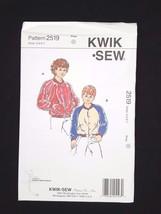 Kwik Sew Sewing Pattern Boys & Girls Baseball Jersey Jacket #2519 Sizes ... - $6.95