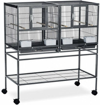 Divided Bird Breeder Cage Rolling Stand Black Stackable Nesting Canary F... - $176.36